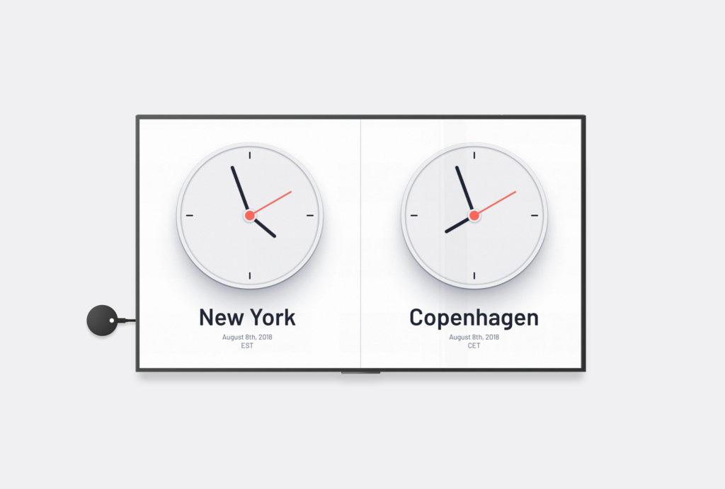 Airtame wereld klok display